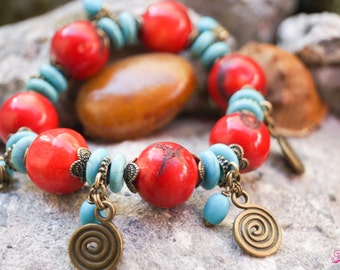 Red Coral Bracelet, Turquoise Bracelet, Nepal Bracelet, Tibetian Bracelet, Boho Bracelet, Tribal Bracelet, Ethnic Bracelet, Gypsy Bracelet