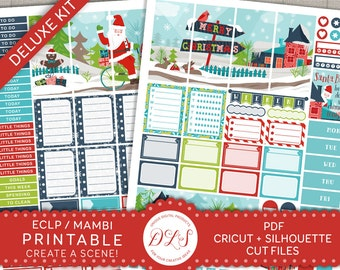 Christmas Planner Stickers, Winter Planner Kit, Weekly Stickers Kit, December Planner, Santa Stickers, Holiday Planner Kit ECF102