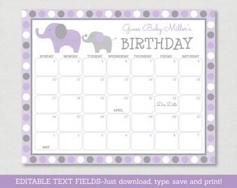 Purple Elephant Baby Due Date Calendar / Elephant Baby Shower / Birthday Predictions Calendar / INSTANT DOWNLOAD Editable PDF A409