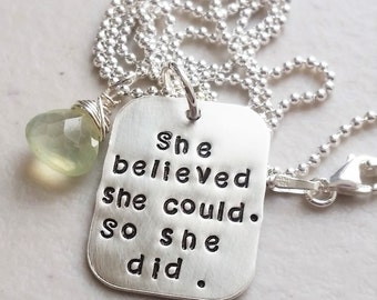 She Believed She Could Necklace -  Inspirational Necklace - Motivational Necklace - Triathlon Necklace - Runner Necklace - She Believed