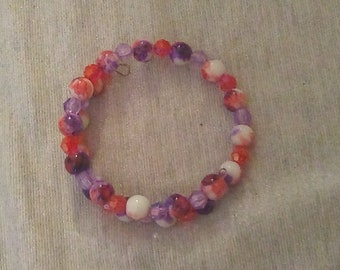 Glass Red and Purple Tie Dye Wraparound Bracelet