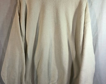 Vintage Champion 100% Cotton All White Cream Cable Knit Sweater XXL