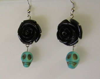 Black Rose with a Turquoise Skull Earrings