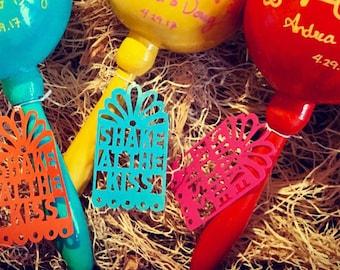 Maraca Tags, Gift Tag, Mexican Fiesta Wedding, Papel Picado Tag, Hang Tags, Shake at the Kiss, Favor tags, Set of 12