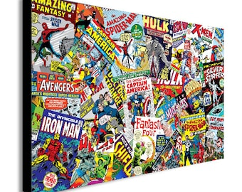 Marvel Collage Super Heroes Retro Canvas Wall Art Print - Various Sizes
