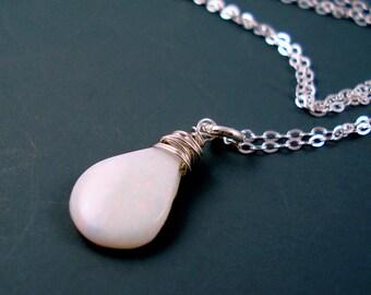 Opal Pendant Necklace, Fire Opal Pendant, White Fire Opal Pendant, Flat Teardrop Fire Opal Pendant Necklace