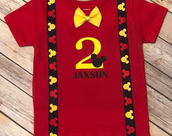 Mickey Mouse Shirt - Mickey Mouse Birthday Shirt - Personalized - Personalized Mickey Mouse - Boys Mickey Outfit - Mickey Mouse