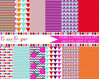 Tropical Punch Digital Paper Pack - Digital background - Printable Digital Paper
