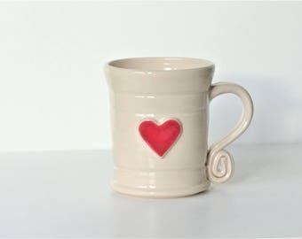 Large Red Heart - White Ceramic Stroneware  Mug Pottery Love Valentine UK Girlfriend Boyfriend Husband Wife