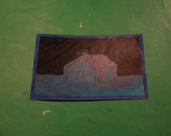 Drawing: old blue house 2