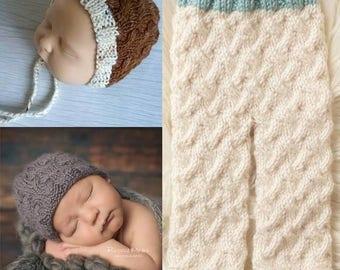 Cozy Cable 3-Piece Set PDF - Knitting Pattern - Pattern Set - Prop Set - Pants Pattern - Bonnet Pattern - Hat Pattern - Newborn Pattern