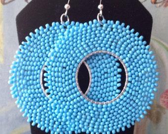 Large Beaded Hoop Earrings Baby Blues Boho Seed Bead Earrings Beadwork Jewelry