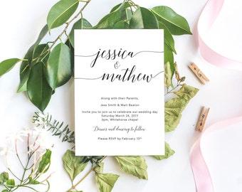 Simple Calligraphy Invitation / Digital Printable Invitation / Wedding Invitation / Minimalist Wedding Invitation / Simple Invite