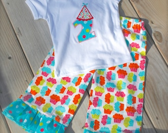 cupcake and polka dot RUFFLE PANT BIRTHDAY set- ruffle pant set with matching birthday hat applique top- now also in long sleeves!!