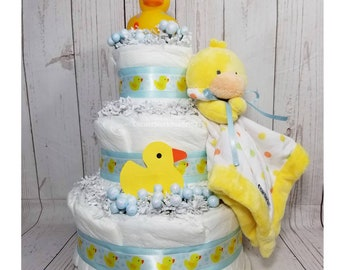 Ducky Diaper Cake| Ducky Baby Shower| Ducky Centerpieces| Ducky Baby Shower Cakes| Baby Cakes| Baby Shower Gifts| Neutral Gender Gift| Baby