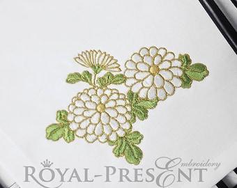 Machine Embroidery Design White chrysanthemums - 5 sizes