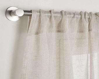 Linen Curtain-Sheer Linen Curtain-Linen Panel with Rod pocket ''(10cm)-Light Natural Flax Linen Panel -Width 67''(170cm)xCustom length