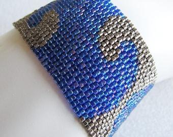 Cobalt Nights Peyote Cuff Bracelet (2225) - A Sand Fibers Made-to-Order Creation