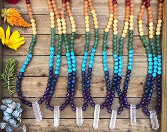 CHAKRA Gemstone CHOKER // quartz point // beaded choker // best friends jewelry // bridesmaid // crystal necklace // rainbow necklace