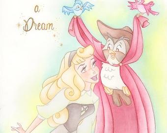 Sleeping Beauty print, Briar Rose, disney Aurora print, once upon a dream, art print, disney