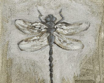 Mini dragonfly painting in acrylic
