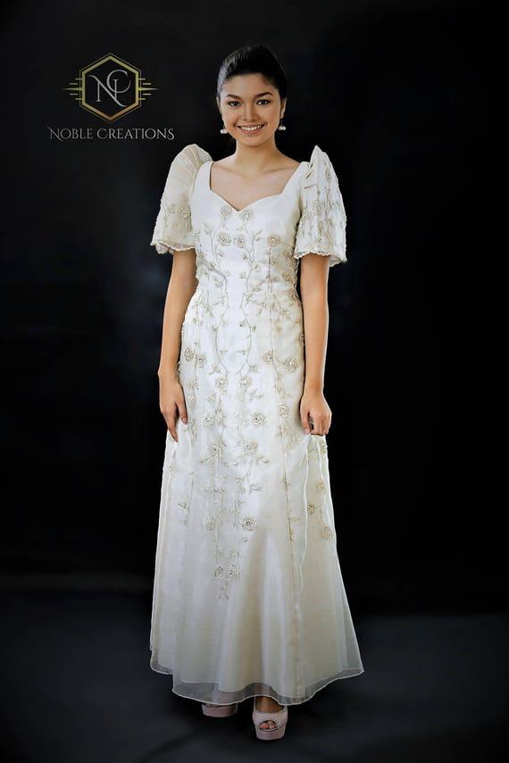 FILIPINIANA DRESS Embroidered Mestiza Gown Filipino Barong