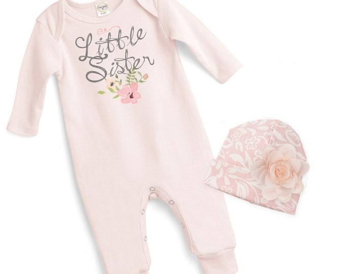 Baby Girl Pink Romper, Newborn Girl Take Home Romper, Little Sister Baby Bodysuit, Pink Long Sleeve Romper, TesaBabe 81BH-F85PP