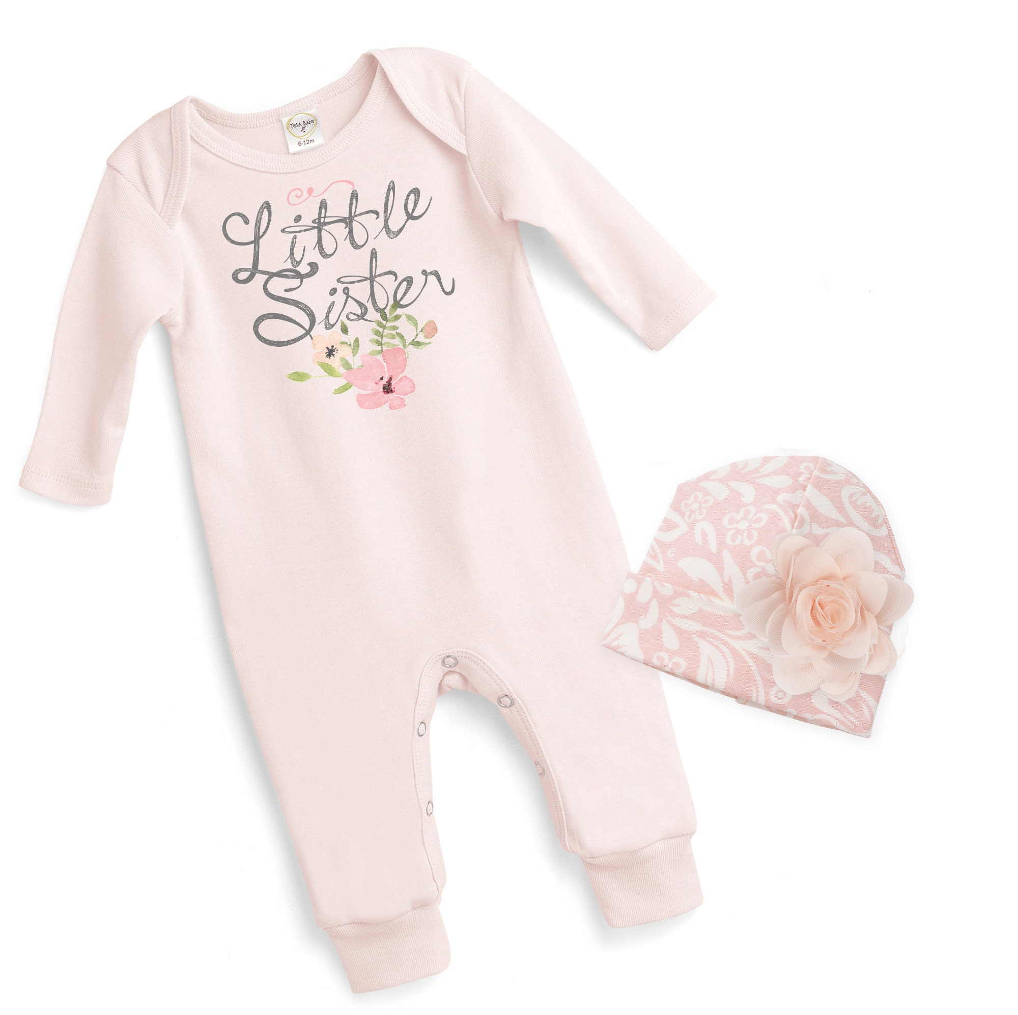 Baby Girl Pink Romper Newborn Girl Take Home Romper Little Sister