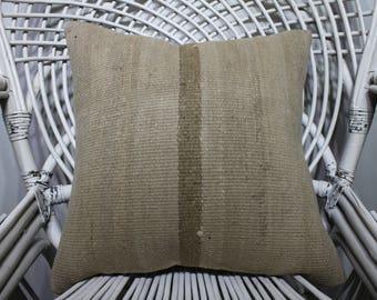 18x18 faded muted color brown color original antique kilim pillows   45x45 cm turkish vintage kelim kissen throw pillow cushion cover 2278