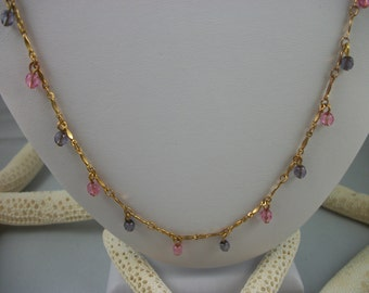 Pink and Purple Glass Beaded necklace on Gold Tone Chain