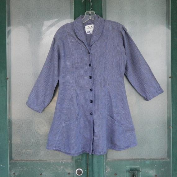 FLAX Engelheart Temperate Godet Jacket -P/XS- Periwinkle/Gray Stripe Linen