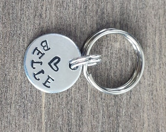 Tiny Pet ID Tag - Cat Tag Small Dog Tag Kitten Tag Bridle Tag Tiny Dog Tag Halter Tag Little Tag - Hand Stamped Aluminum