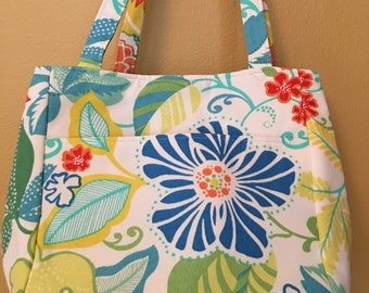 Beth#1899, Boho Summer Tote, Bright Floral Bag, Beach Bag, Knitting Project Bag, Large Project Bag, Project Tote, Self Standing Tote, Knit