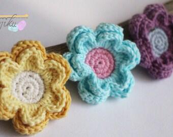 6 petals flower,flower brooch,flower hairclip,flower home decor,flower crochet pattern,flower DIY,crochet flower pattern,crochet flower