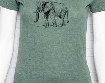 Elephant T-Shirt Organic Cotton and RPET Recycled Polyester - Wild Animal Rights Circus Freedom - Women's Slim Fit T Shirt Screen Printed