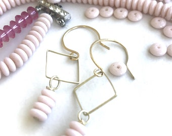 Pastel Pink Porcelain Beads Stacked Earrings