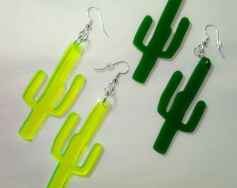 Cactus Earrings in Neon Green or Green, Southwestern Style Fashion, Festival Boho Style, Saguaro Cactus