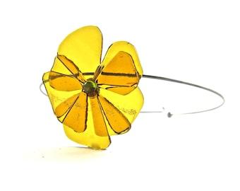 Organic Shape Fused Glass Flower Pendant Choker,Fall Color