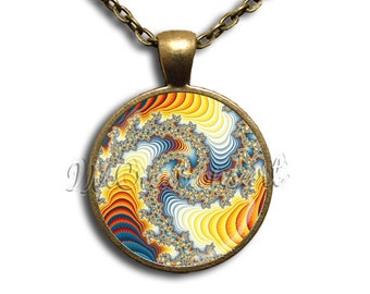 Brilliant Pattern Glass Dome Pendant or with Chain Link Necklace - PT111