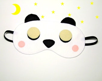 Sleep mask Panda bear felt white black Pajamas Spa night sleep party favors soft eye sleeping accessory - Gift for girl kids her him