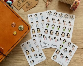 Cute Brunette Girls, Planner Stickers, TN, Filofax, Erin Condren - To do (Mini Icons)
