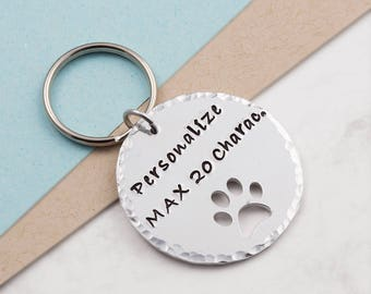 Paw print keychain keyring, pet keychain, personalized keyring, personalized gift, hand stamped, customized keychain, pet loss, pet memorial