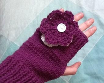 Floral Gloves, Wedding Gloves, Fingerless Gloves, Bridal Gloves, Flower Gloves, Womens Gloves, Handmade Gloves, Ladies Gloves, Purple Gloves