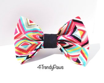 Modern Squares Bow, Geometric Bow, Abstract Bow, Pink Squares Bow, Girl Dog Bow, Big Dog Bow, Small Dog Bow, Bow Tie