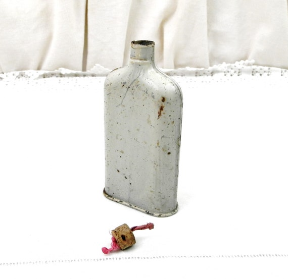 Antique Painted Metal Gun Powder Flask With Cork Stopper from France, French Powder Bottle, Shabby Chateau Chic, Rustic Cottage Decor