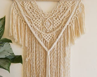 Macrame Wall Hanging with Quartz crystal on Driftwood