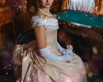 Victorian Wedding Dress, 1880s Bustle Milk White Gown, Voctorian Ball Dress