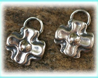 Two Southwest Cross Charms,  Little Sterling Silver Cross Charms