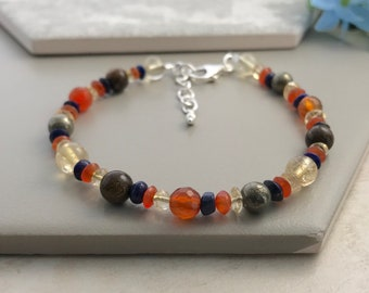 Gemstone Bracelet, Confidence bracelet, success bracelet, luck bracelet, courage bracelet, orange bracelet