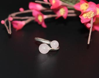 Silver ring and rose quartz beads